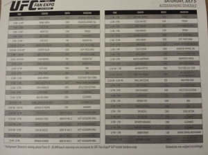 2014 UFC Fan Expo Autograph List 1